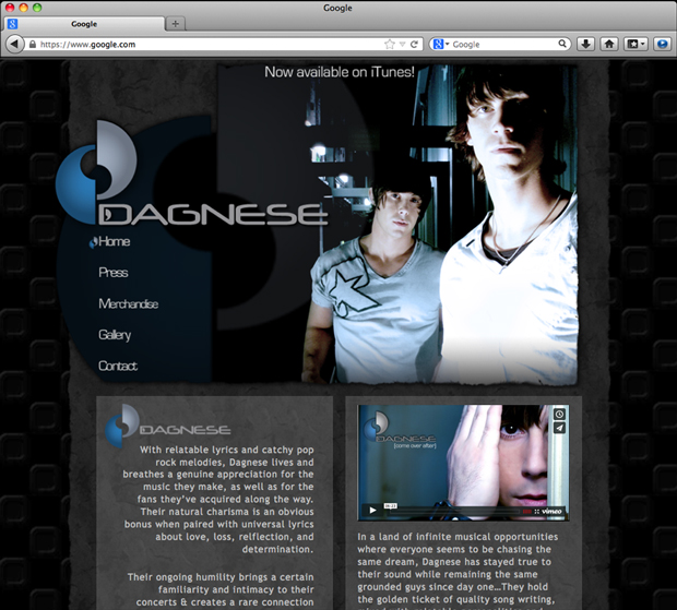 Dagnese website design; HOME page.