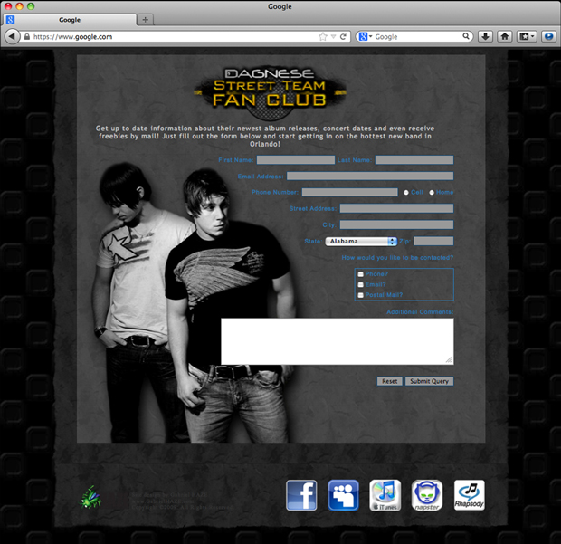 Dagnese website design; CONTACT page.